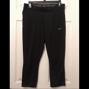 Nike Relay Dri-FIT Foldover Black Crop Tights